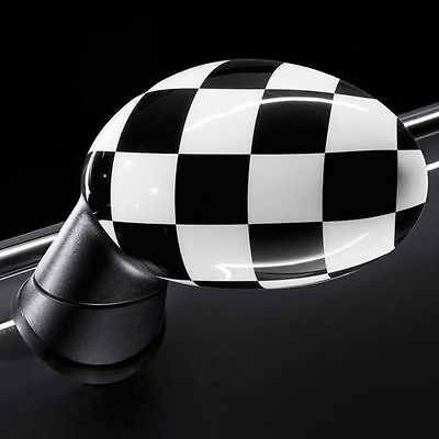 NEW OEM MINI Cooper Mirror Covers Pair for POWERFOLD Checkered