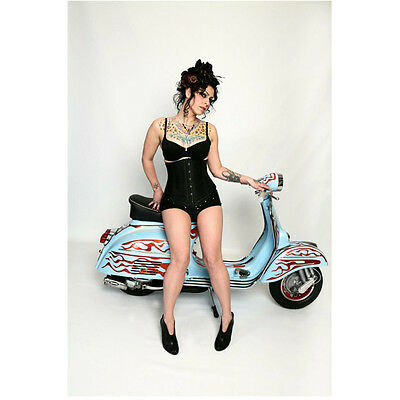 Danielle Colby Cushing American Pickers Posing By Bike 8 X 10 Inch Photo