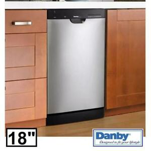 "NEW DANBY 18"" BUILT IN DISHWASHER DDW1802EBLS 144747635 STAINLESS STEEL 8 PLACE SETTING KITCHEN DISH WASHER DISHES CL..."