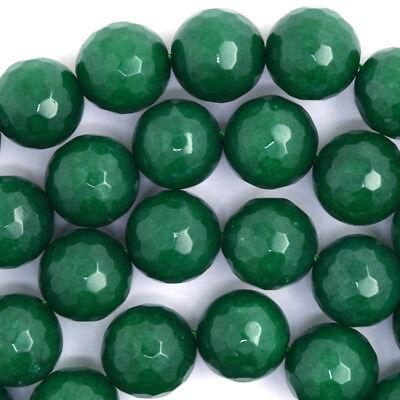 Faceted Emerald Green Jade Round Beads Gemstone 15
