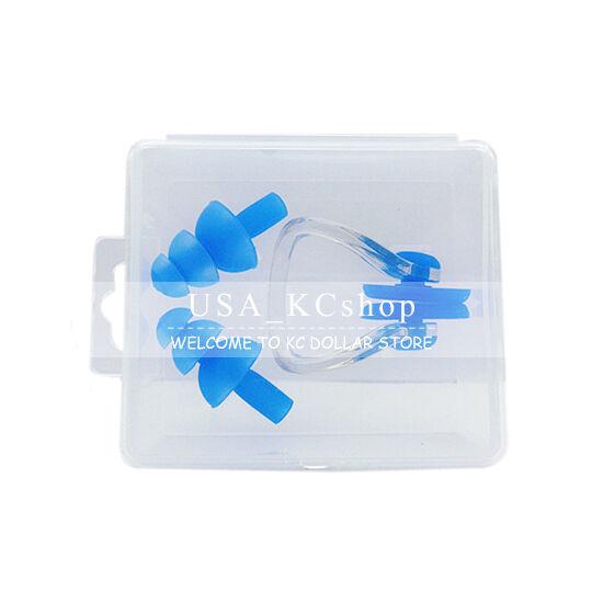 New Silicone Waterproof Swim Swimming Nose Clip + Ear Plug Earplug Combo Set