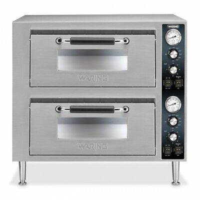 Waring Wpo750 Commercial Double Ceramic Deck Pizza Oven Dual Temperature Control
