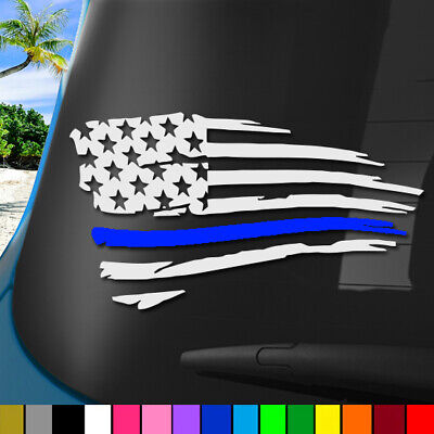 """Police Officer Thin Blue Line American Flag 8"""" Sticker Decal Car Truck Window"""