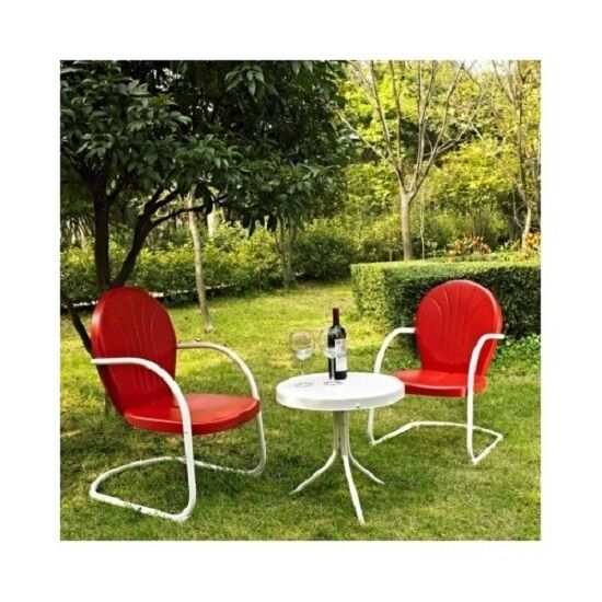 3 PC Chairs/Table Set Metal Retro 50s Style Outdoor Lawn Por