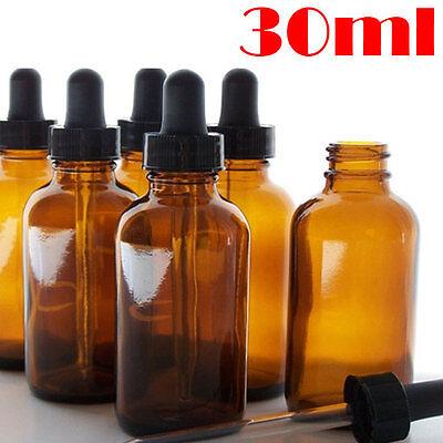 Amber Glass 30ml Liquid Reagent Pipette Bottle Eye Dropper Drop Aromatherapy - Amber Glass Drop