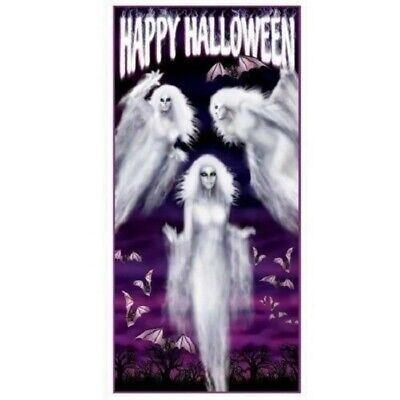 HAPPY HALLOWEEN ETHEREAL GHOST DOOR COVER HORROR BATS POSTER PARTY DECORATION ()