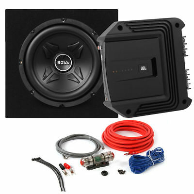 "Boss CXX10 800W 10"" Subwoofer + JBL Amplifier + Sub Box + Amp Kit Bass Package"
