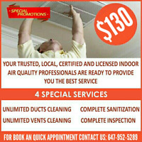 DUCT CLEANING ONLY $130 WITH UNLIMITED HOT & COLD VENTS
