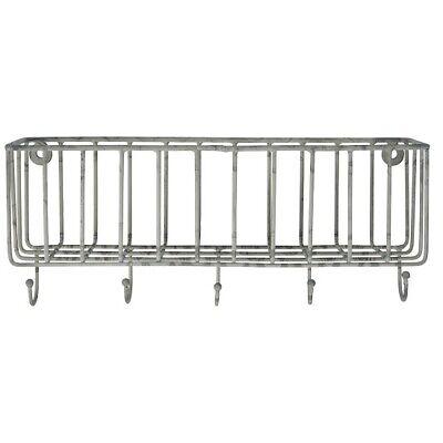 Wall Metal Basket With 5 Hooks / Storage Organizer by Ib Laursen