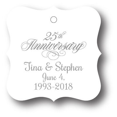 25th Wedding Anniversary Party Favor Tags - 24 personalized with names and - 25 Wedding Anniversary Favors