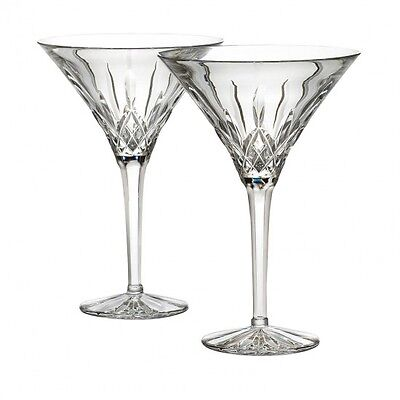 Waterford Crystal Lismore Tall Martini Glasses Pair New #125422 Made In Ireland