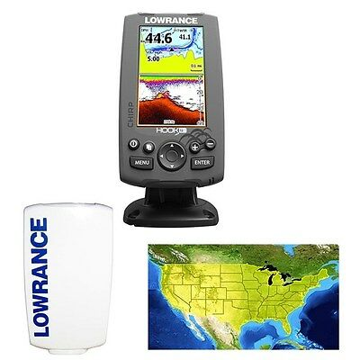 New Lowrance Hook-4 DSI CHIRP BUNDLE w/ Transducer+Lake Insight Pro+Sun Cover