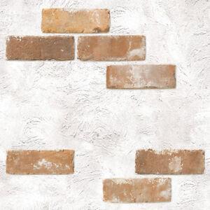 Shabby chic brick self adhesive wallpaper vinyl home depot for Wallpaper rolls home depot