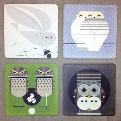 New Charley Harper Asst Owl Set of 4 Absorbent Stone Coasters with Wood Stand
