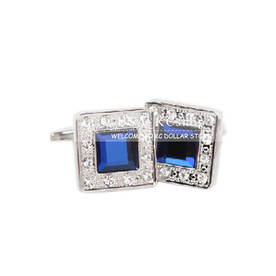 New Men's Blue Crystal Classic Elegant Square Cufflinks Party Wedding Cuff Links