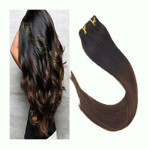 OMBRE CLIP INS BALAYAGE   BLACK / BROWN  HAIR EXTENSION