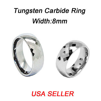 - New! Tungsten Diamond Cut Ring Wedding Band Comfort Fit 8MM Wide Mens Jewelry