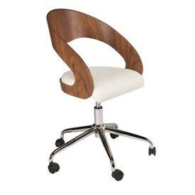 Dwell Walnut Veneer Chrome Swivel Chair £40