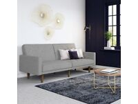 Linen Sofa Bed In Light Grey With Wooden Feets