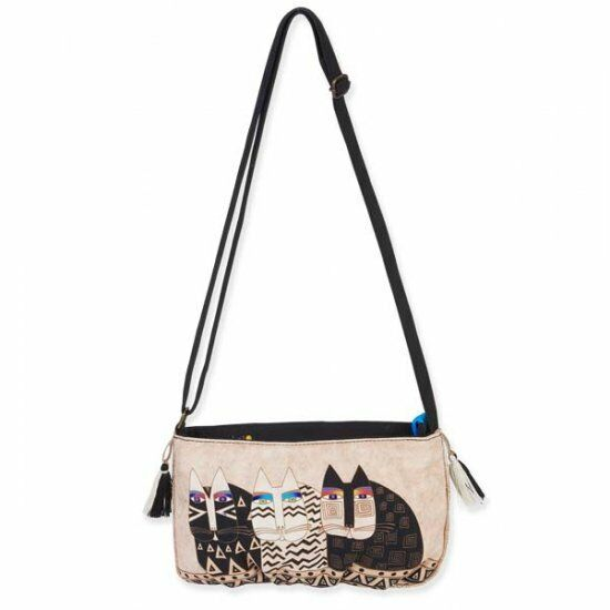 LAUREL BURCH Crossbody Bag CAT FACES Feline Shoulder Purse Cream Black Tassel
