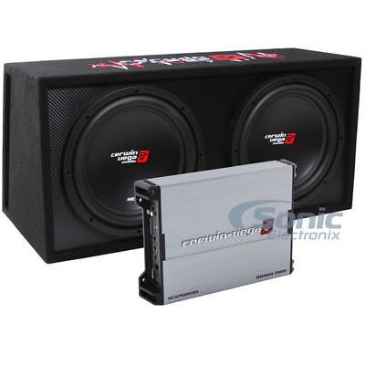 "3000W Cerwin Vega Amplified XED Dual 12"" Loaded Subwoofer Ba"