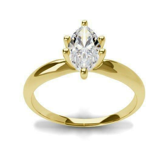 Real Genuine Diamond Engagement Ring 0.75 Ct Marquise 14k Yellow Gold E/vs2