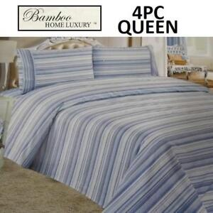 NEW BAMBOO 4PC BED SHEET SET QUEEN HAPS3500Q 225007517 HOME LUXURY 3500 THREAD COUNTS WRINKLE FREE BEDDING BEDROOM