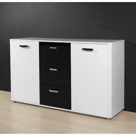 Dual High Gloss Sideboard With 3 Drawers And 2 Doors