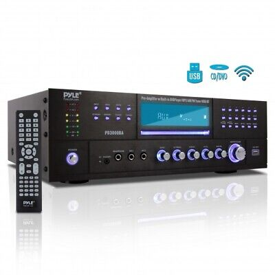 Pyle Bluetooth 4.1 Channel 3000W AM/FM Stereo Receiver Amplifier DVD CD USB/SD