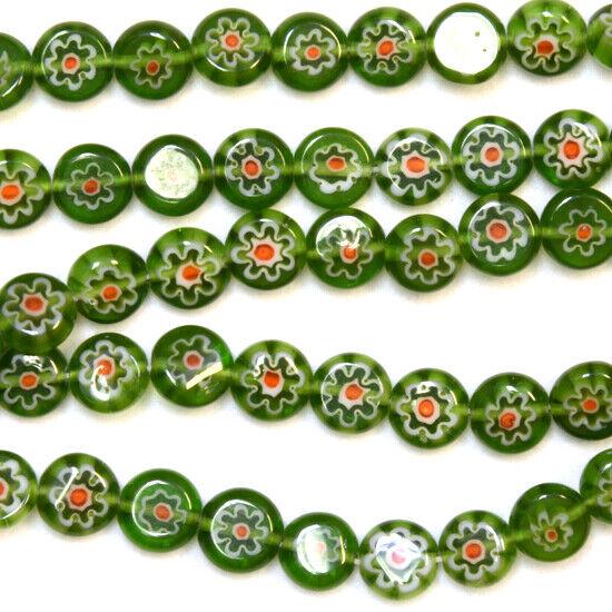 "MILLEFIORI LAMPWORK GLASS BEADS GREEN COIN 8MM 16"""