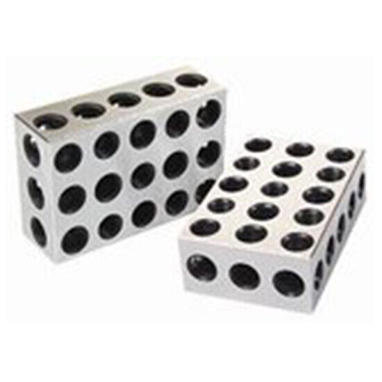 """25-50-75mm 1 Matched Pair Ultra Precision Blocks 23 Holes .0001"""" Machinist"""
