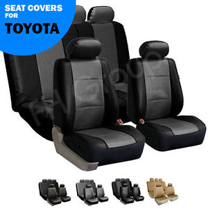 Gray & Black PU Leather Auto Seat Cover Full Set for Toyota