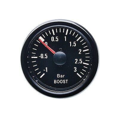 52mm Retro Ladedruckanzeige ( 0 - 3 Bar ) Rundinstrument Anzeige Schwarz LED LDA