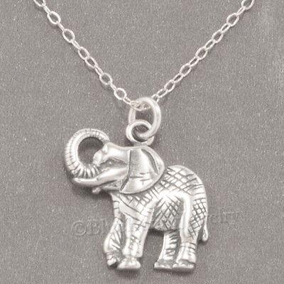 ELEPHANT Zoo SAFARI Asian Animal Charm Pendant 925 STERLING SILVER 18