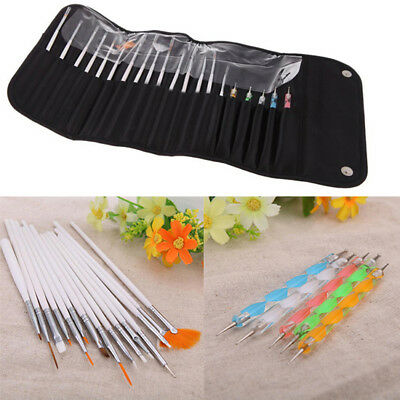 20 pcs UV Gel Nail Art Design Set Dotting Painting Drawing Polish Brush Pen Tool