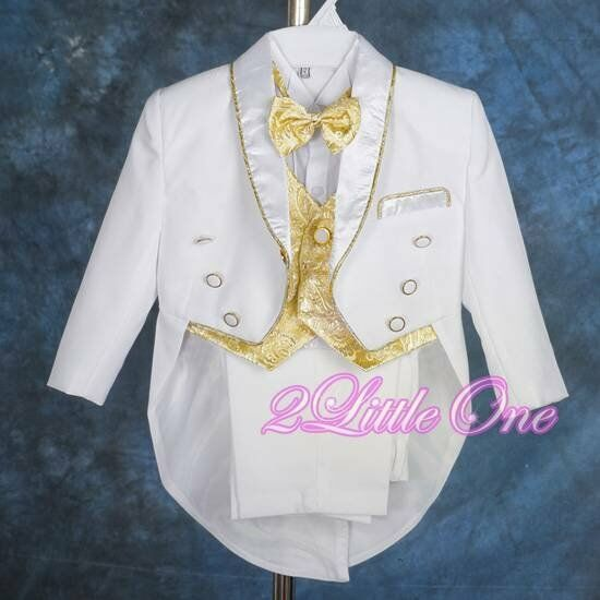 5Pc Formal Tuxedo Suit Vest Wedding Party Christening White Gold Sz 12-18m #015A