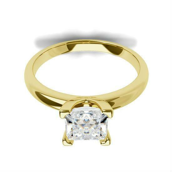 Diamond Ring Princess Cut Vvs1 D 18k Yellow Gold Four Prong 1.07 Ct Size 7 8 9