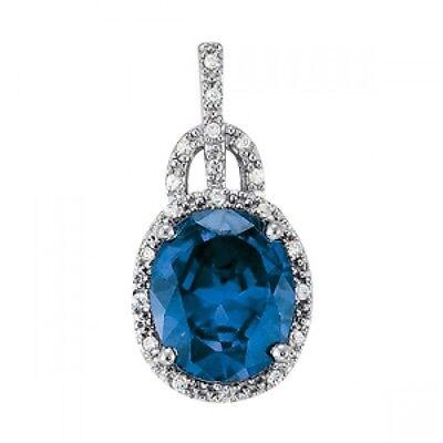 - NEW 14k WHITE GOLD LONDON BLUE TOPAZ DIAMOND OVAL CUT HALO PENDANT NECKLACE