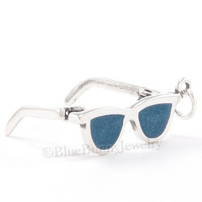 Sterling Silver Sunglasses - SUNGLASSES Charm Pendant Beach SUN Glasses STERLING SILVER Movable 3D ENAMEL 925
