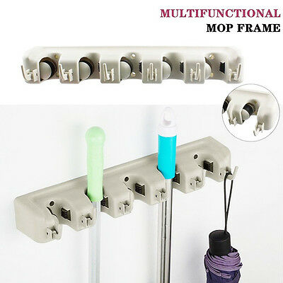 Magic Wall Mount Mop Holder Brush Broom Hanger Kitchen Tool Organizer