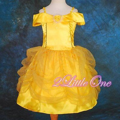 Belle Halloween Costume 2t (Girl Belle Princess Halloween Costume Party Fancy Dress Up Size 2T-3T)