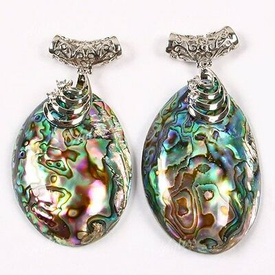 Vintage Natural Abalone Mother Of Pearl MOP Shell Bead Pendant Necklace DIY -