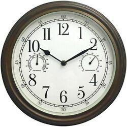 Westclox 33027 Indoor/Outdoor Wall Clock 12 Bronze w/ Temp & Himidity Dials