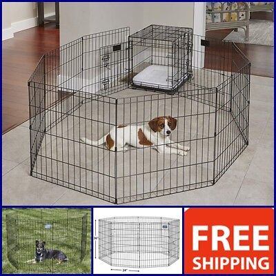 """Used, 36"""" Indoor Outdoor Dog Fences Wire Puppy Cage Pet Rabbit Kitten Fencing 8 Panels for sale  USA"""