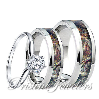 Camo Ring Set (Mens Titanium Mossy Forest Oak Camo Band Womens 925 Sterling Silver Ring 3pc)