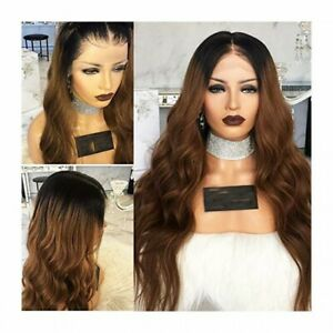 "FULL LACE HUMAN HAIR WIGS OMBRE BROWN 20"" AAA"