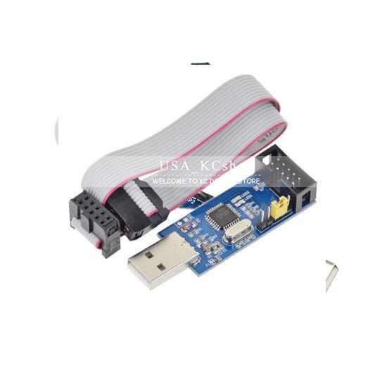 USBasp USBISP AVR 10 Pin USB Programmer 3.3V/5V 51 ATMEGA8 w/ Downloader Cable