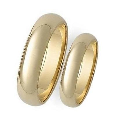 Patent 2 Piece Set (2 Piece His & Hers Plain 5mm Domed 14K Gold Overlay Wedding Band Ring Set )