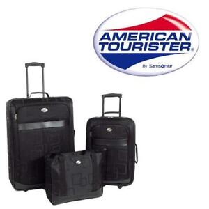 NEW 3 PIECE LUGGAGE SET 136772588 AMERICAN TOURISTER BLACK SUITCASE LUGGAGE ROLLING