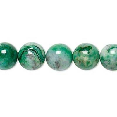 1968 Crazy Lace Agate Round Beads Green 10mm 16inch  *UK EBAY SHOP*